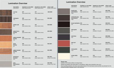 Aluplast műanyag ablak profil rendszer színválasztéka 2